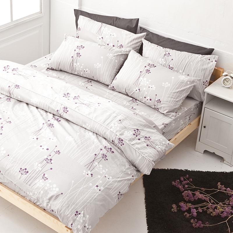 床包被套組/雙人特大【蒲公英之曲】100%精梳棉雙人特大床包被套組