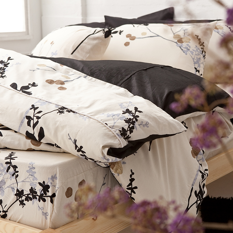 床包被套組/雙人特大【京都物語】100%精梳棉雙人特大床包被套組