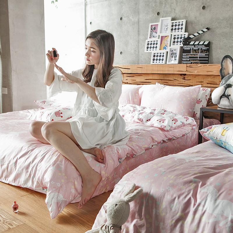 床包被套組/雙人特大【尋找夢奇地粉】100%精梳棉雙人特大床包被套組