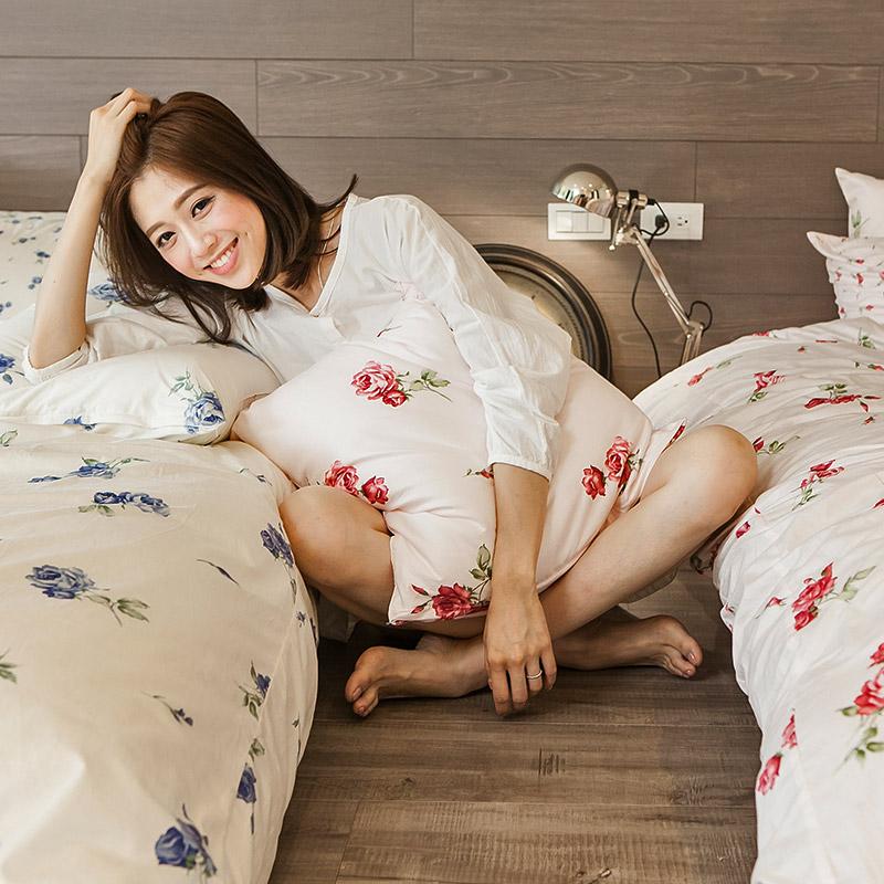 床包被套組/雙人特大【玫果雪酪粉】100%精梳棉雙人特大床包被套組