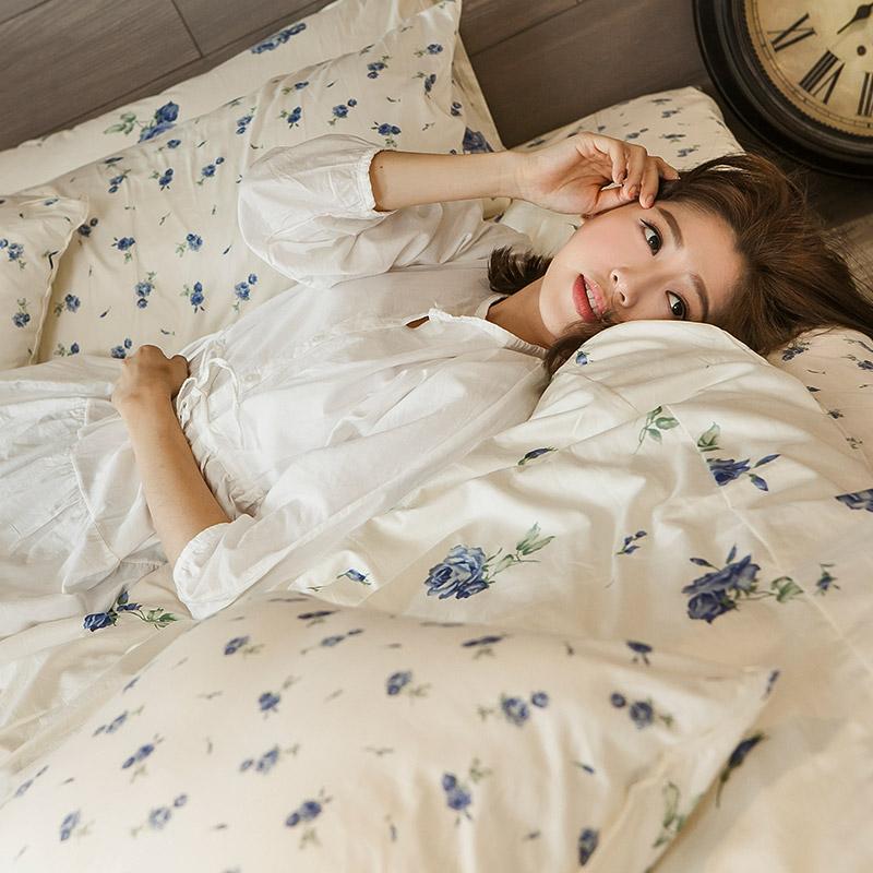 床包被套組/雙人特大【玫果雪酪藍】100%精梳棉雙人特大床包被套組