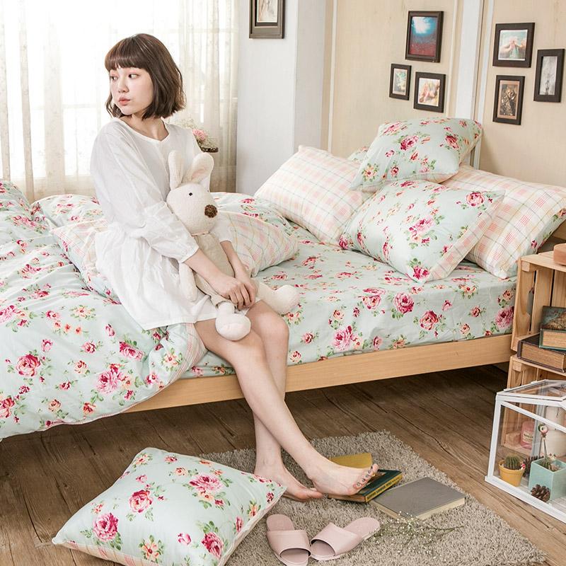 床包被套組/雙人特大【玫瑰粉格】100%精梳棉雙人特大床包被套組