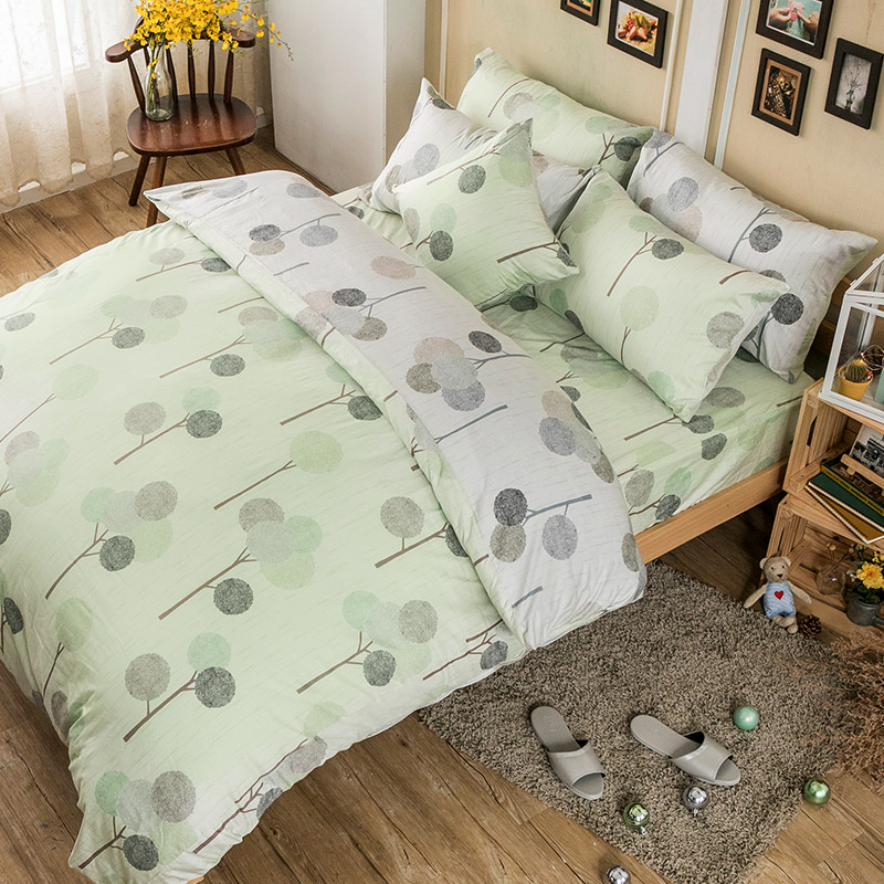 床包被套組/雙人特大【晨曦之柏】100%精梳棉雙人特大床包被套組