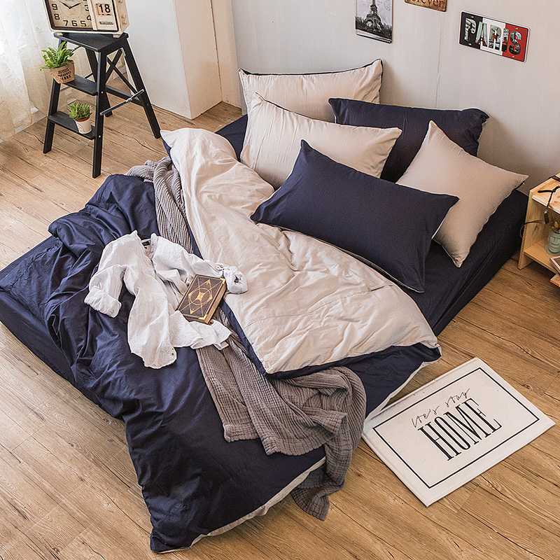 床包被套組/雙人特大【撞色系列-紳士藍】100%精梳棉雙人特大床包被套組