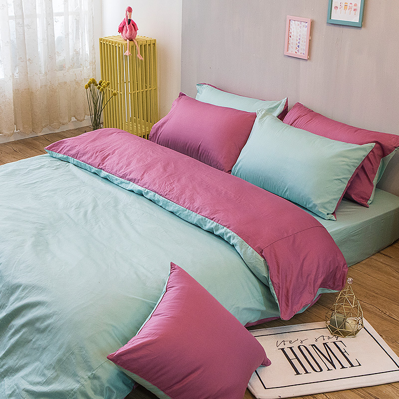 床包被套組/雙人特大【撞色系列-水水綠】100%精梳棉雙人特大床包被套組