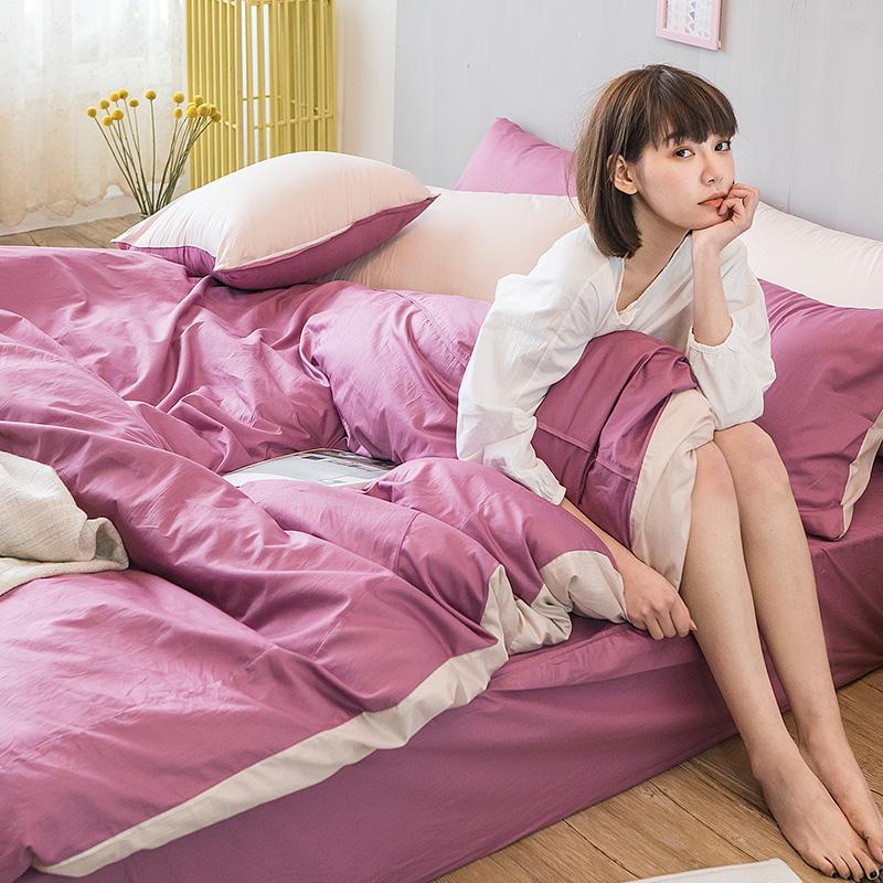床包被套組/雙人特大【撞色系列-波波紫】100%精梳棉雙人特大床包被套組