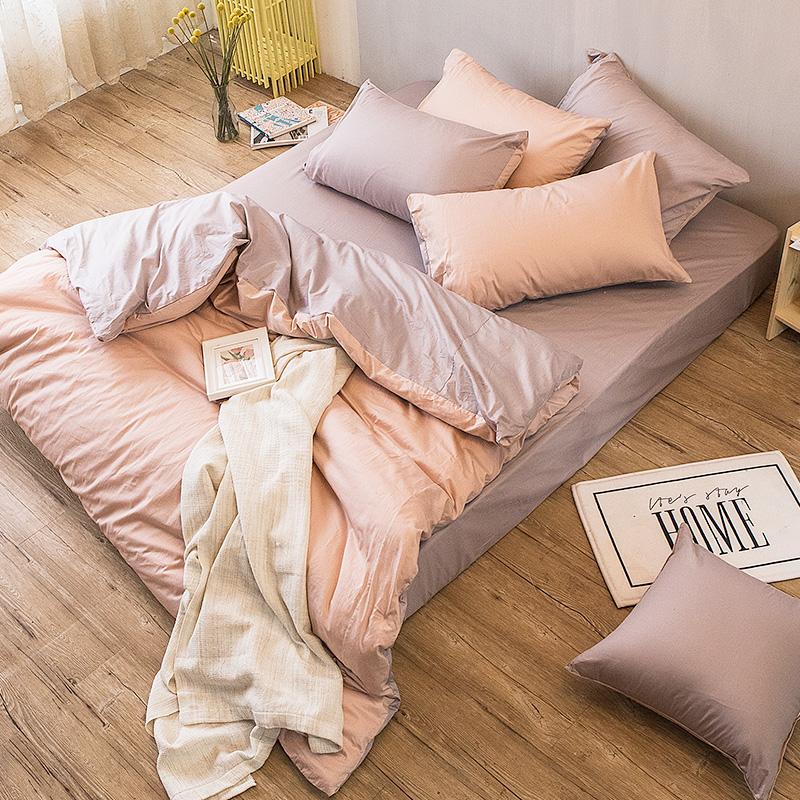 床包被套組/雙人特大【撞色系列-可可粉】100%精梳棉雙人特大床包被套組