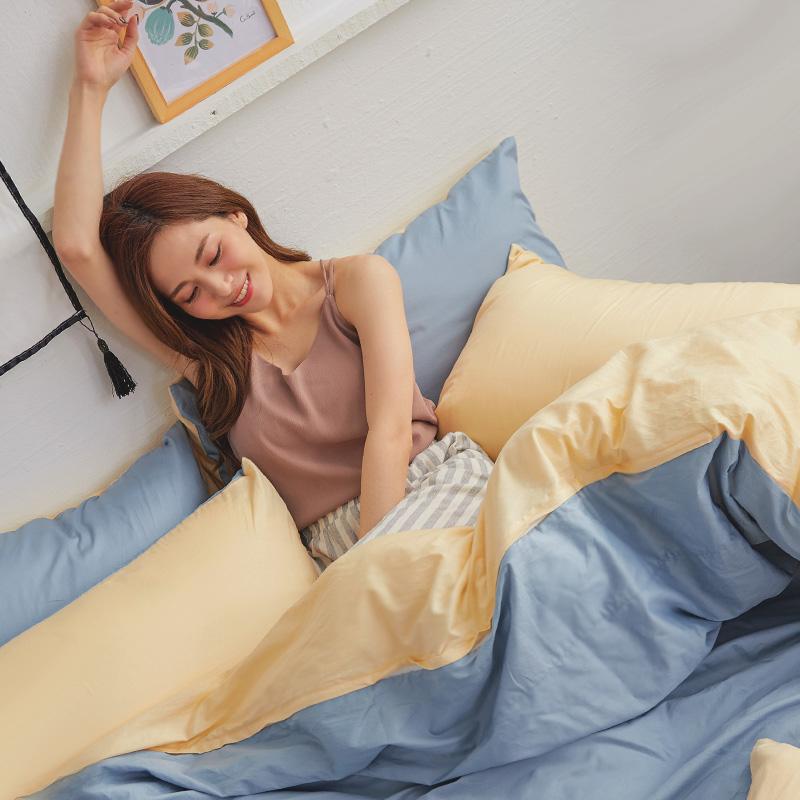 床包被套組/雙人特大【撞色系列-日出藍】100%精梳棉雙人特大床包被套組