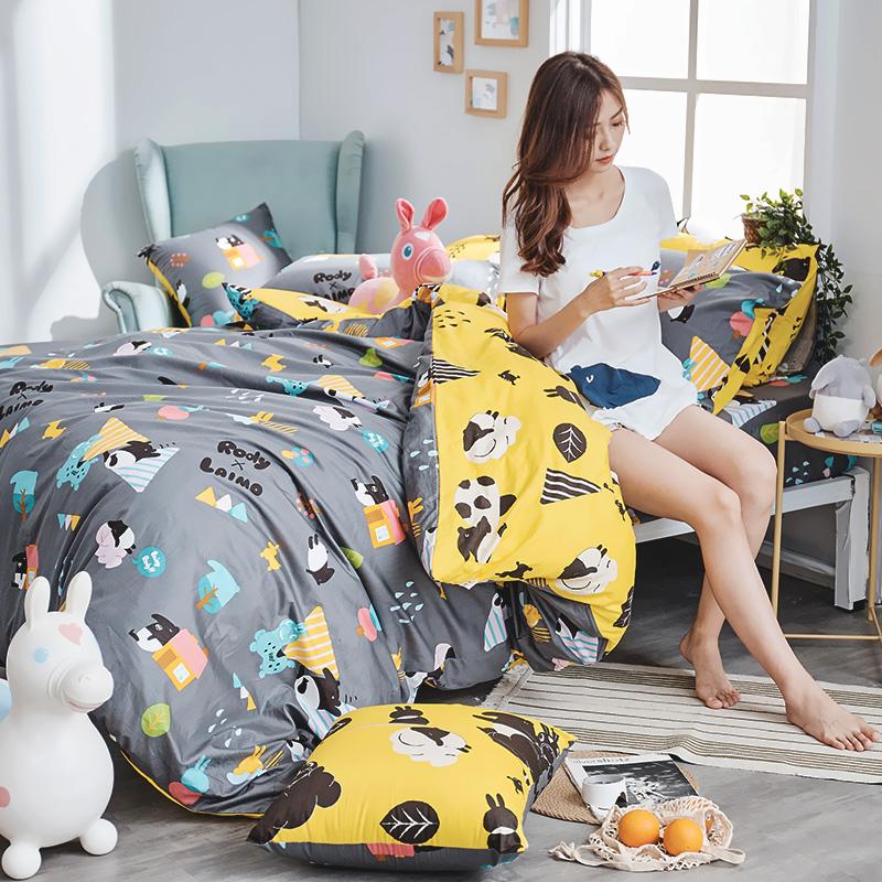 床包被套組/雙人特大【Jump!馬來貘x蹦跳Rody】100%精梳棉雙人特大床包被套組含二件枕套