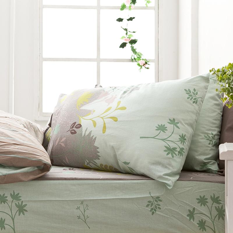 床包兩用被/雙人【香草綠】100%純棉雙人床包兩用被套組