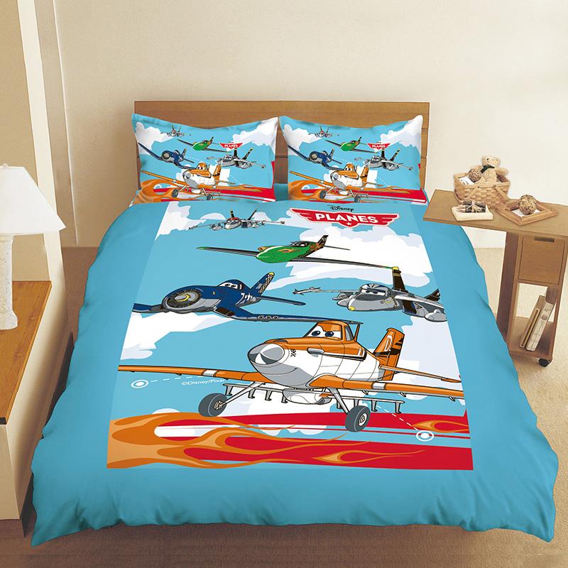 床包兩用被/雙人【飛機總動員飛翔篇】混紡精梳棉雙人床包兩用被套組