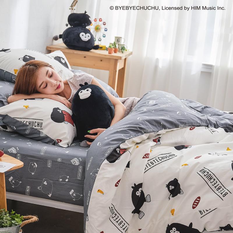 床包兩用被/雙人【奧樂雞的遊樂園】100%精梳棉雙人床包兩用被套組