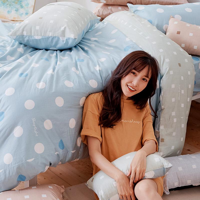 床包兩用被/雙人【點點小宇宙水星藍】100%精梳棉雙人床包兩用被套組