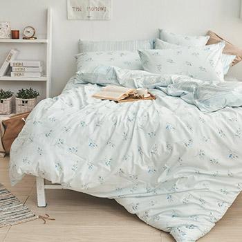 床包兩用被/雙人【日月青畔】100%精梳棉雙人床包兩用被套組