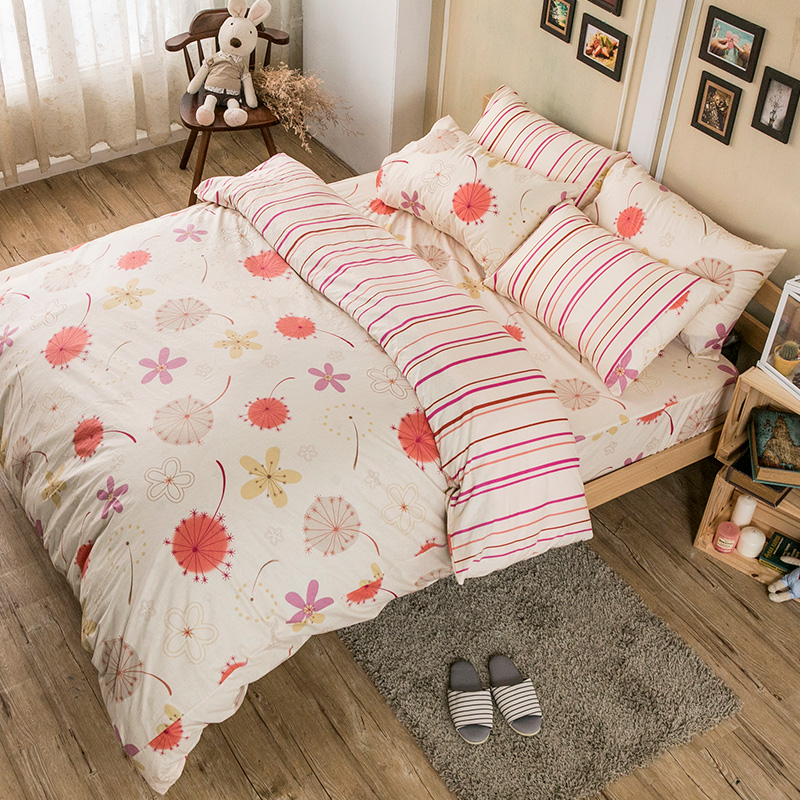 床包兩用被/雙人加大【輕盈粉】100%純棉雙人加大床包兩用被套組