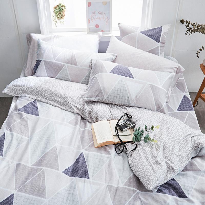 床包兩用被/雙人加大【北歐菱線】60支天絲雙人加大床包兩用被套組