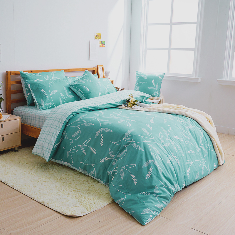 床包兩用被/雙人加大【小葉曲】100%精梳棉雙人加大床包兩用被套組
