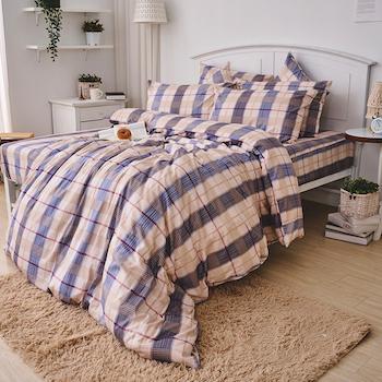 床包兩用被/雙人加大【伯利格紋】100%精梳棉雙人加大床包兩用被套組