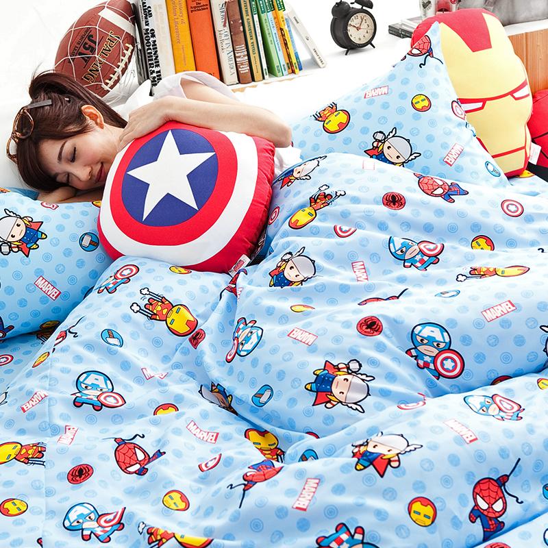 床包涼被組/單人【復仇者聯盟-超萌英雄】高密度磨毛布單人床包涼被組