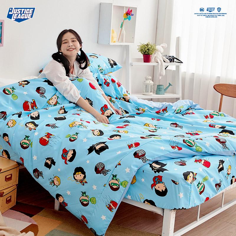 床包涼被組/單人【DC正義聯盟Q版超級英雄-藍】單人床包涼被組