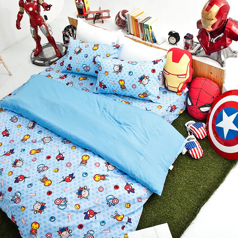 床包涼被組/雙人【復仇者聯盟-超萌英雄】高密度磨毛布雙人床包涼被組