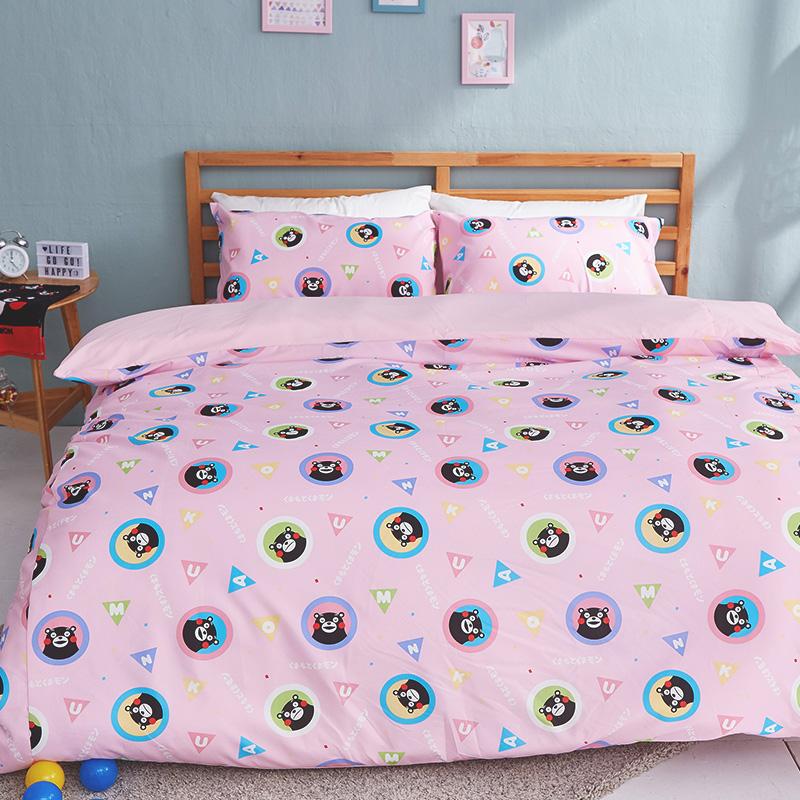 床包涼被組/雙人【熊本熊樂園粉】高密度磨毛布雙人床包涼被組