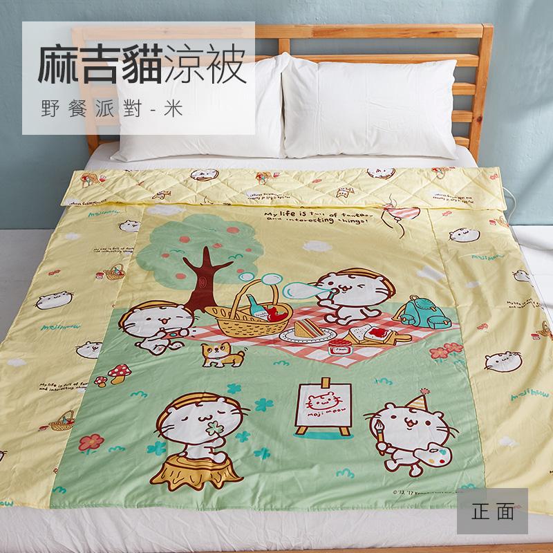 床包涼被組/雙人【麻吉貓野餐派對米】100%精梳棉雙人床包涼被組