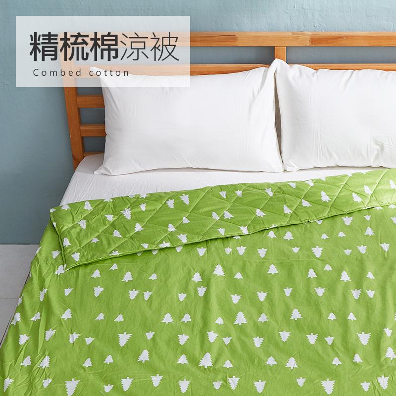床包涼被組/雙人【遇見朵朵綠】100%精梳棉雙人床包涼被組