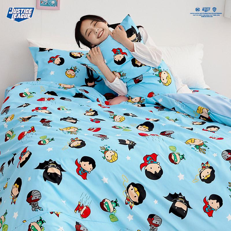 床包涼被組/雙人【DC正義聯盟Q版超級英雄-藍】雙人床包涼被組