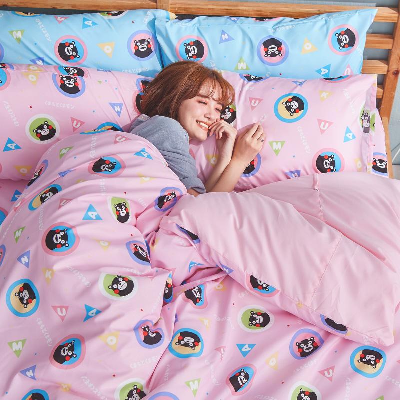床包涼被組/雙人加大【熊本熊樂園粉】高密度磨毛布雙人加大床包涼被組