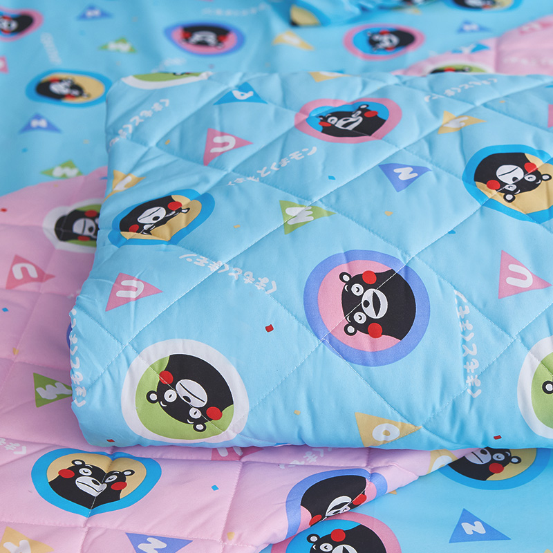 床包涼被組/雙人加大【熊本熊樂園藍】高密度磨毛布雙人加大床包涼被組