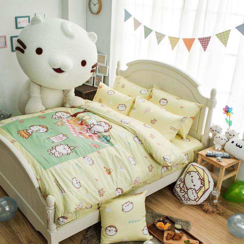 床包涼被組/雙人加大【麻吉貓野餐派對米】100%精梳棉雙人加大床包涼被組