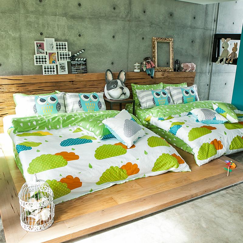 床包涼被組/雙人加大【遇見朵朵綠】100%精梳棉雙人加大床包涼被組