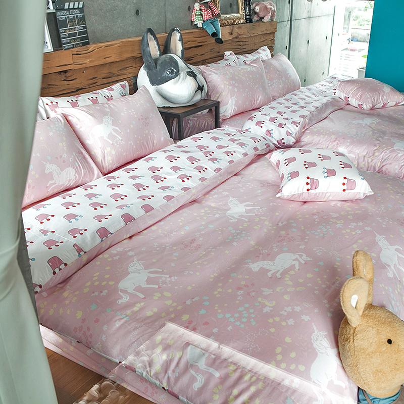床包涼被組/雙人加大【尋找夢奇地粉】100%精梳棉雙人加大床包涼被組