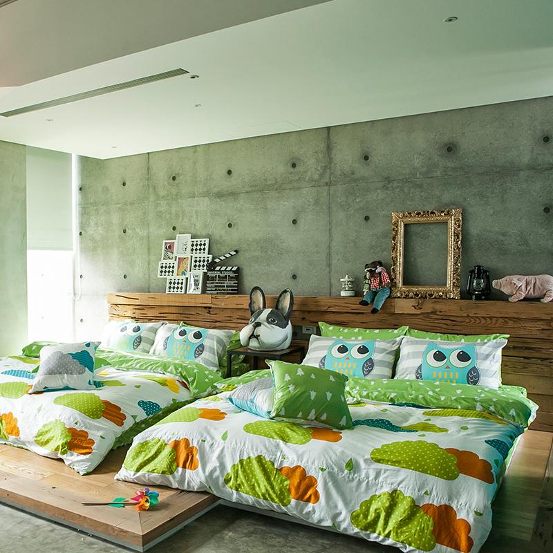 床包涼被組/雙人特大【遇見朵朵綠】100%精梳棉雙人特大床包涼被組