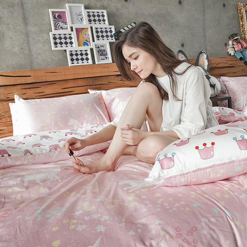 床包涼被組/雙人特大【尋找夢奇地粉】100%精梳棉雙人特大床包涼被組