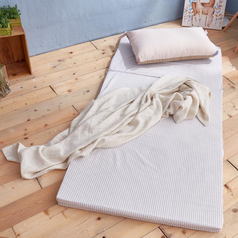優惠組合包/單人【樂芙三折床墊+水洗枕-格紋】