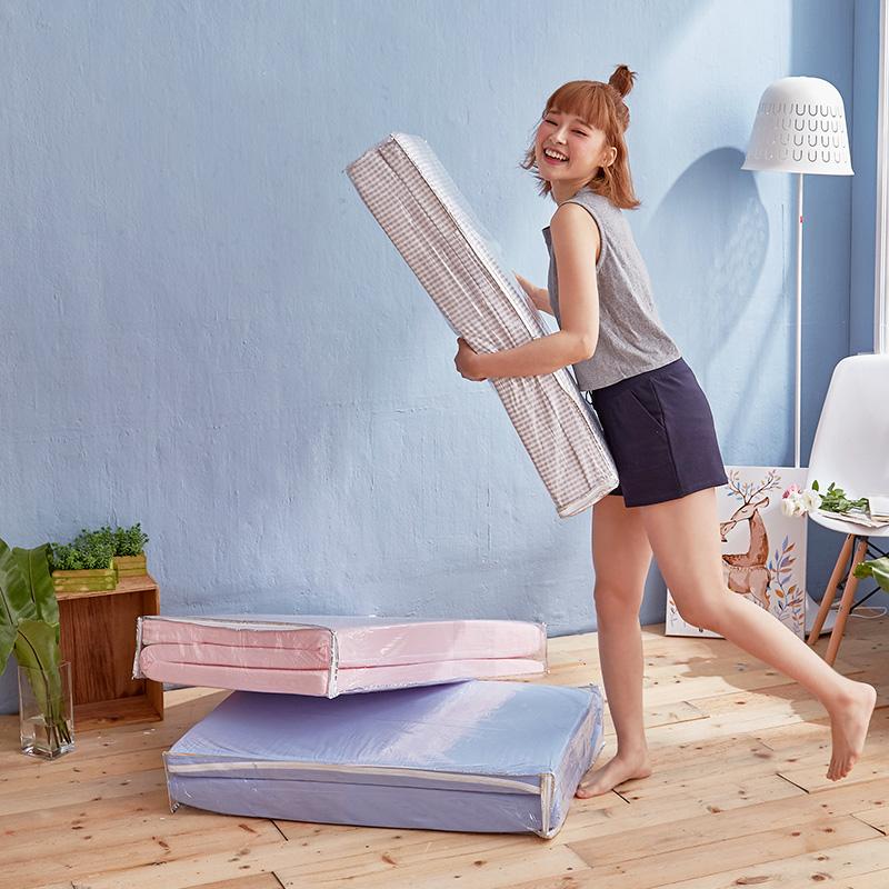 優惠組合包/單人【樂芙三折床墊+水洗枕-藍色】