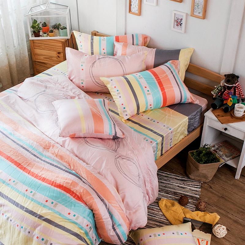 床包被套組/雙人加大【彩遊之嬉-橘】40支天絲雙人加大床包被套組