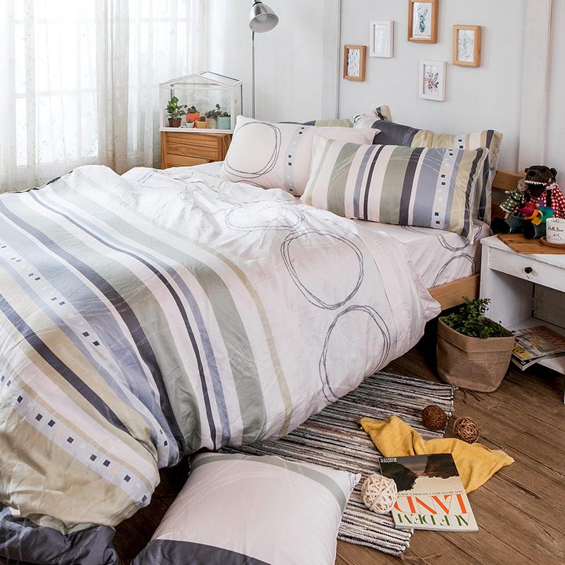床包被套組/雙人加大【彩遊之嬉-綠】40支天絲雙人加大床包被套組
