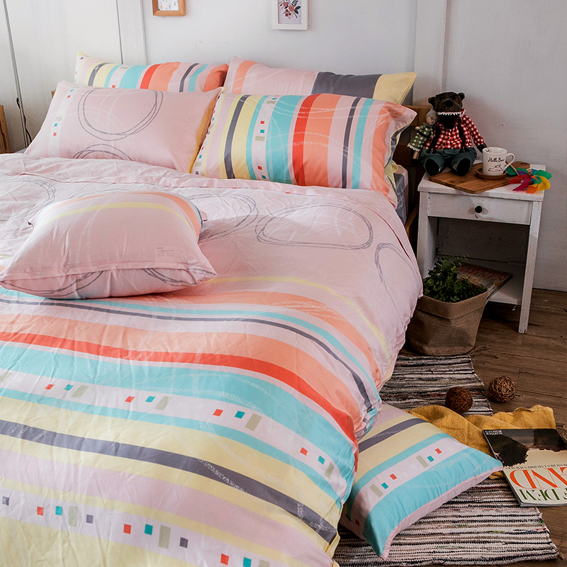 床包兩用被/雙人加大【彩遊之嬉-橘】40支天絲雙人加大床包兩用被套組
