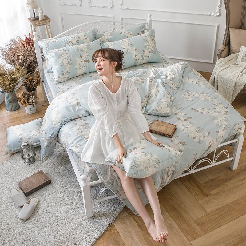 床包兩用被/雙人加大【月光葉影】60支純天絲雙人加大床包兩用被套組