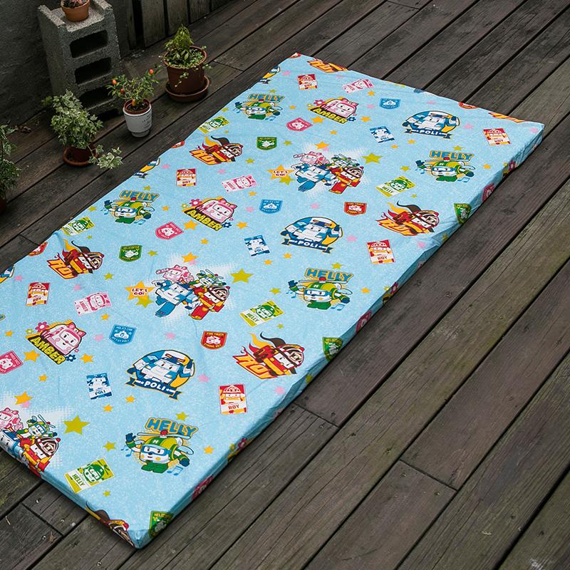 床墊布套/單人【波力救援小英雄布套】高密度磨毛布卡通抗菌床墊布套