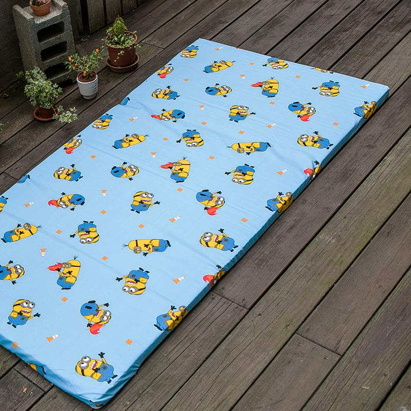 床墊布套/單人【小小兵全速前進布套】高密度磨毛布卡通抗菌床墊布套