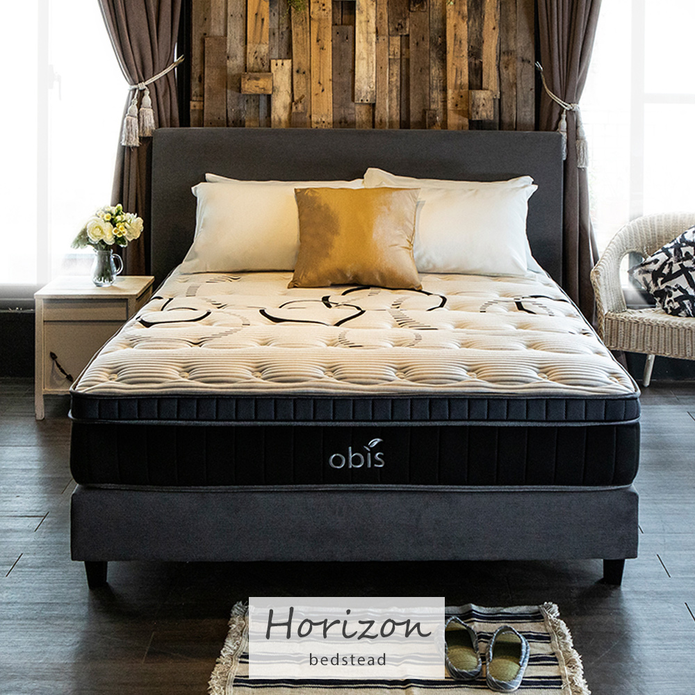 床組/【Horizon時尚繽紛】5*6.2尺床組(床頭+床底)(灰色)